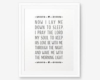 Bedtime Prayer Printable, Nursery bible verse, Now I lay me down to sleep, Bedtime prayer printable, Baptism Gift