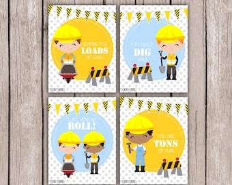 Construction Boys Valentine Cards- Valentine Cards- DIY PRINTABLE Valentine Cards- Kids Valentine Cards