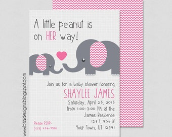 Little Peanut Baby Shower Invitation, Customized, Digital File