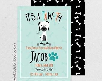 Puppy Paw-ty Birthday Party Invitation 2, Customized, Digital File