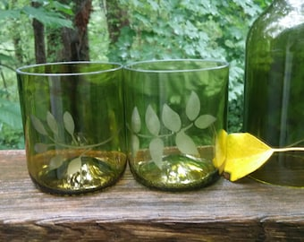 Repurposed Wine Bottle Glasses with Etching- Set of 2