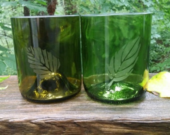 Repurposed, Etched Wine Bottle Glasses- Set of 2, mismatch