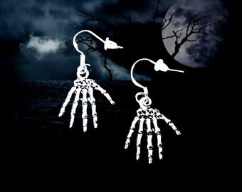 50% On SALE Halloween Earrings..Halloween Jewelry..Skeleton Hand Earrings..Skeleton Earrings..The Walking Dead.925 Silver Wire.FREE SHIPPING