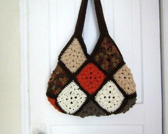Crochet Handbag , Shoulder Bag, Granny Square Bag, Hip Bag , Purse