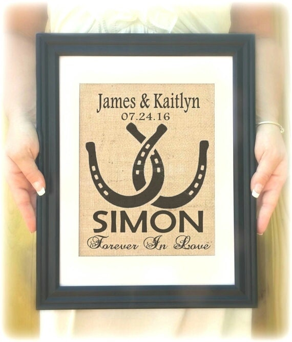 Horseshoe Wedding Gift: Horseshoe Wedding Gift Custom Last Name Print Personalized