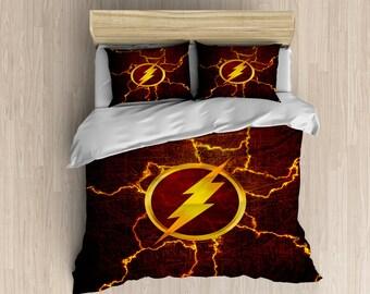 The Flash Bedding - Superhero Duvet Cover, The Flash Duvet, Superhero Bedding Set, Red Lightning Bedroom Decor
