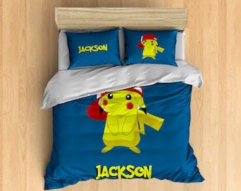 Monogram Pokemon Bedding - Pokemon Duvet Cover, Pikachu Duvet Set, Personalize With Your Name, Custom Pokemon Bedding, Cute Kids Bedding
