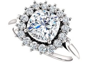 1.70ct Forever Brilliant Moissanite Engagement Ring - Cushion Cut Halo Engagement Ring - 14k White Gold - Genuine Diamonds