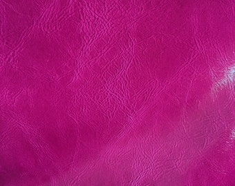 Fuchsia Distress Upholstery Faux Leather Vinyl Fabric - BTY - Bags Wallets Purses