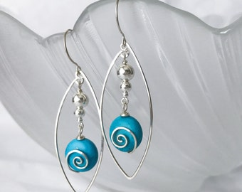 Sterling silver dangling turquoise beads earrings handmade with sterling silver beads and sterling silver wire