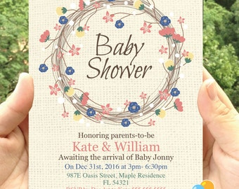 Floral Baby Shower invitation party printable- Invitation printable- JPEG-digital file