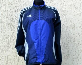 Vintage 90s Adidas Jacket zip front lined Blue Striped ADIDAS Bomber Windbreaker