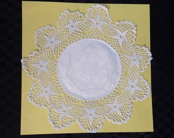 Large White Hand Crochet Doylie with Damask Insert.