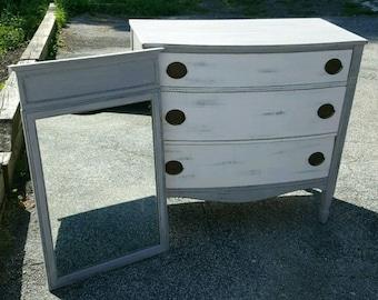 Beautiful Vintage Refinished Grey Distressed Dresser