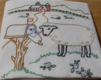 Sheep By Mailbox, Barn in Background Kitchen Flour Sack Dish Towel