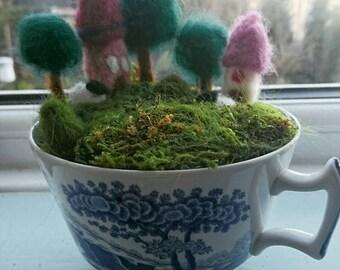 Handmade Felted Teacup Fairy Garden