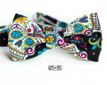 skull bow tie, day of the dead, dia de los muertos, sugar skulls, self tie bowtie, Mexican bow tie, colorful bowtie, skulls flowers, hipster
