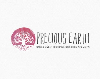 Round Tree Logo Design , Pink Tree , Watercolor Tree , Tree With Roots , Pink Watercolor , Pink and White , Doula Logo , Birth Workers