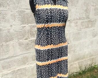 Vintage 70s sleeveless navy blue, white, orange polka dots midi dress, polyester, boho, size M/L