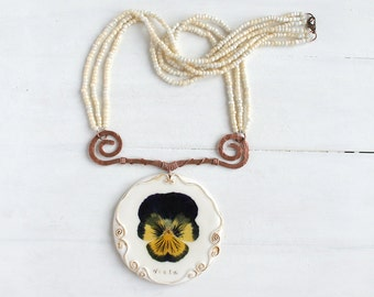 Real Flower Necklace, Statement Necklace, Real Flower Jewelry,  Big Necklace, Large Necklace, OOAK Necklace, Eco Friendly Jewelry