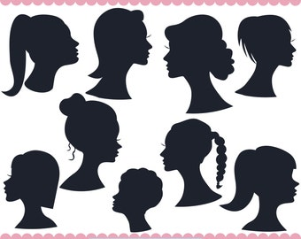 Woman Heads Silhouette Clipart, Women Silhouette Clipart, Lady Silhouette Clipart, People Silhouette, Girl Head Silhouette, JPG PNG SVG
