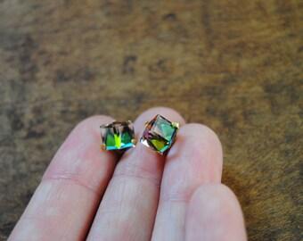 Unique Iridescent Cube Stud Earrings Gold Earrings Vintage Pair of Earrings Rainbow Stone