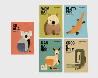 Australia Wildlife Notecards, Kangaroo, Koala, Wombat, Platypus, Crocodile Greeting Cards, Animal Illustrations Postcards, Set of 5