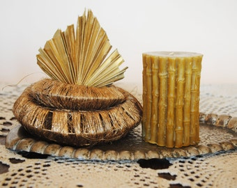 Beeswax-Bamboo Candle-Dinning- Xmas, Christmas Table Centre Piece, Wedding Candle