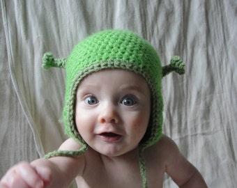 Crochet Baby Ogre Hat with Ear Flaps