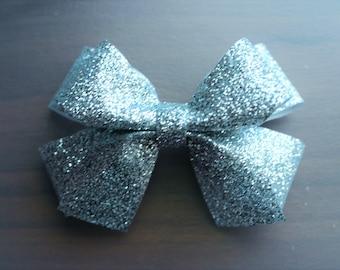 Silver Glitter Hair Bow Clip