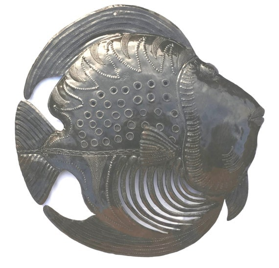 "Fish Underwater, Haitian Metal Art Indoor and Outdoor 23"" X 23"""