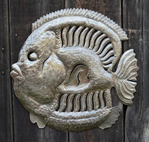 """Handmade Haitian Metal Art Fish Under Water 23"""" x 23"""""""
