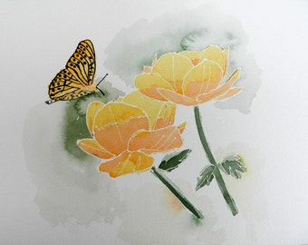 Butterfly and Flowers, Orange, Original 9x12 Watercolor Painting