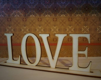 Love Centerpiece Wedding Table Decoration, Letter Sign Love, Wooden Laser Cut Wedding Décor, Set Of Center Pieces For Wedding Tables, Love