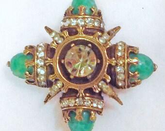Maltese Cross and Simulated Jade Art Glass Rhinestone Brooch Pin