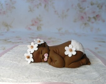 "Polymer Clay Babies ""White Flowers Garden Baby"" BABY SIZE 2.5"" Gift, Collectible, Keepsake, Memorial, Cake Topper, Home Shelf Display Decor"