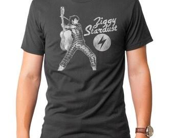 David Bowie Ziggy Stardust (MBWE014-101CHR) Men's T-Shirt. bowie, david, ziggy stardust, reflect, vision, golden years, lets dance, 1970s.