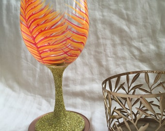 Feather wine glass