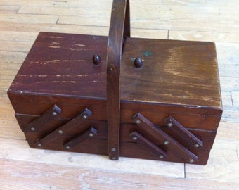 Vintage Sewing Wooden Box & Cabinet Storage Chest with Accessories all in One