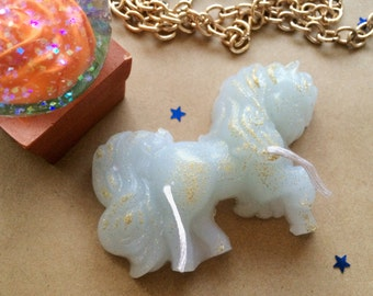 Pony candle, white pony candle, unicorn candle, my little pony candle, glitter candle, glitter candles, unicorn candles, gift for girls