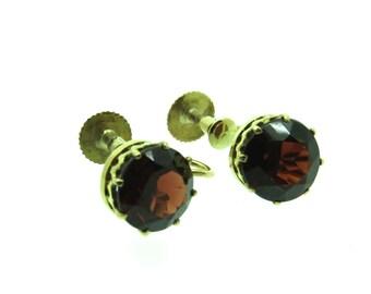 A Traditional Pair of Faceted Garnet Earrings (SKU139)