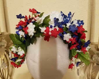 Tribal Headress on a leather band with ties,red,white and blue,bellydance,burlesque