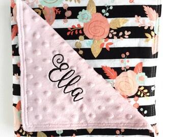 Minky Baby Blanket, Pink Baby Girl Blanket, Minky Crib Blanket, Gold Nursery Decor, Pink Minky Blanket, Gold Coral Baby Blanket