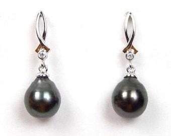 Sterling Silver 8-9mm Tahitian Black Pearl Dangle Earrings BE61234STA