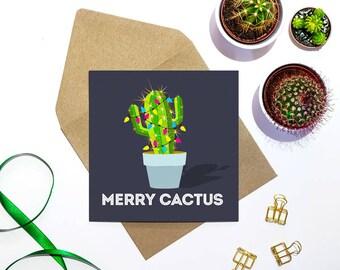 Cactus Christmas Card - funny christmas card - merry cactus