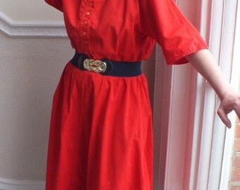 Sale! Bright Red Dress 1980s/Cotton/Crew Neck/Botton Down Closer/Elasticated Waist/Loose Fit/Loose Elbow Sleeves