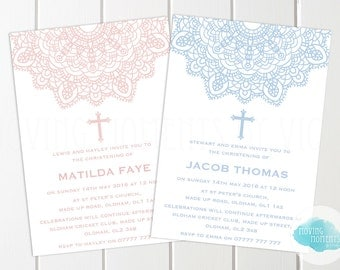 Personalised Christening / Baptism Invitations with Envelopes