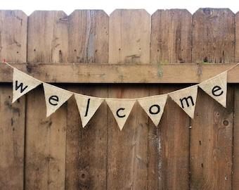 WELCOME Burlap Banner - Customize!