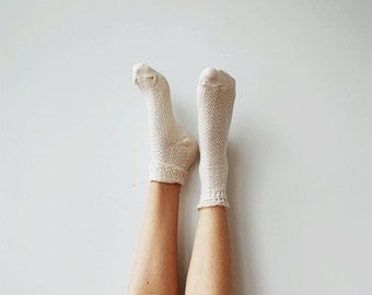 Ivory Lace Short Socks - PM-091I