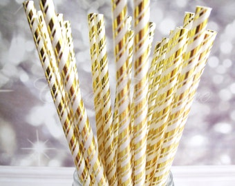 GOLD METALLIC STRIPE 25 Paper Straws with Gold Metallic Stripe Pattern, Wedding, Party, New Year, Christmas Paper Straw